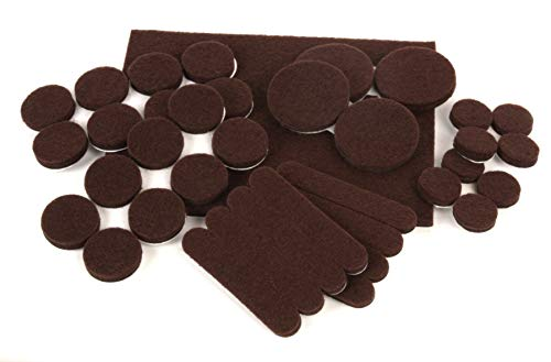 Slipstick CB072 Premium Furniture Protectors for Hardwood Floors and Hard Surfaces (37 Felt Pads with Extra Strength Self Stick Adhesive), Variety, Dark Brown