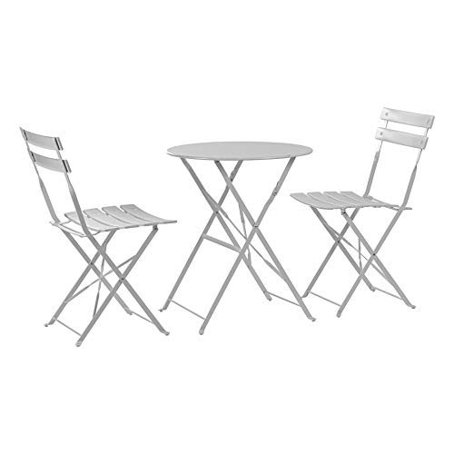 Harbour Housewares 3 Piece Sussex Bistro Set - Folding Table and Chairs Outdoor Patio Garden Furniture - Round - White