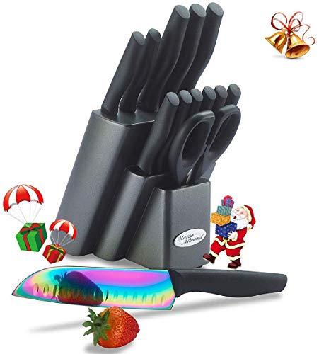 Marco Almond Knife Block Set, kitchen Knives Set with Block, Kitchen Scissor, Cutlery Knives Set, Best Gift (14-Piece, Rainbow Titanium/Black)