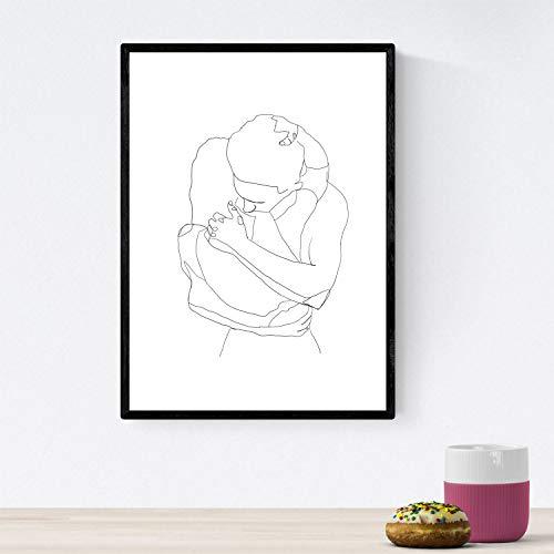 Posters de dibujos y bocetos a una linea. Lámina nordica de Abrazo de pareja. Cuadro a un solo trazo. Tamaño A3