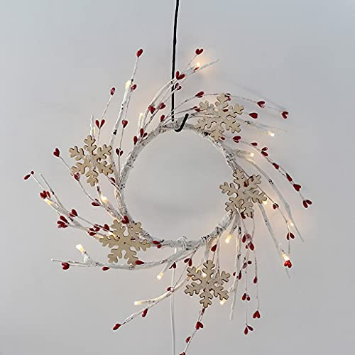 ZNBJJWCP Red Berry Wreath Artificial Wood Snow with 20 Led Lights Wreath Holiday Decor Fireplace Table Candle Ring