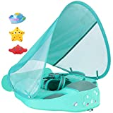 Newest Size Improved Added Tail Never Flip Over UPF 50+ Mambobaby Non Inflatable Baby Float Swim Trainer Infant Pool Float with Canopy Swim Ring