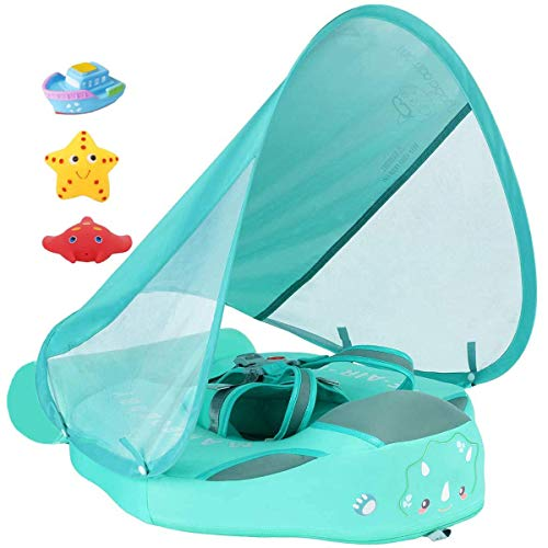 Newest Size Improved Added Tail Never Flip Over UPF 50 Mambobaby Non Inflatable Baby Float Swim Trainer Infant Pool Float with Canopy Swim Ring