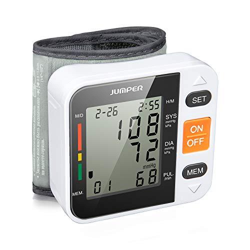 Jumper Handgelenk-Blutdruckmessgerät, Digital Blutdruckmessgerät Monitor für Herzfrequenz und Pulse Detection - Einschließlich Aufbewahrungskoffer und AAA-Batterien (Schwarz)