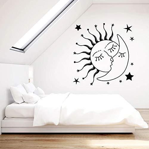Calcomanías de pared románticas sol besando estrellas de la luna pegatinas de ventana de vinilo dormitorio de los niños habitación de bebé jardín de infantes decoración del hogar papel tapiz de arte