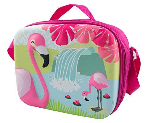 POS 30030 - trendy koeltas met 3D flamingo-motief, ca. 25 x 19 x 10 cm groot, van 100% polyester, ideaal voor onderweg, het strand, de picknick of voor het werk.
