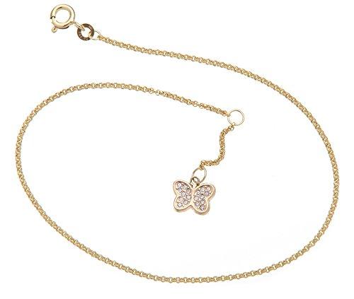 Silberketten-Store Cavigliera pisello con farfalla–1,5mm larghezza–Lunghezza a scelta 23–30cm–Vero oro 333 e oro, cod. 1235