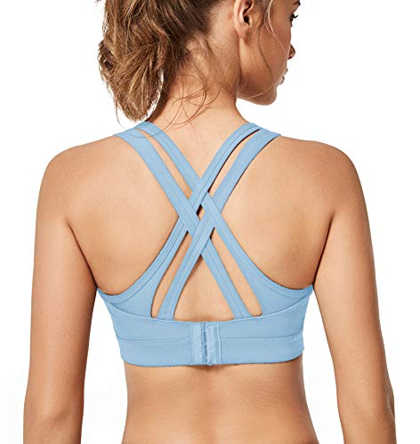 Yvette Women High Impact Sports Bras Criss Cross Back Sexy Running Bra for Plus Size, Blue, 3XL(DF)