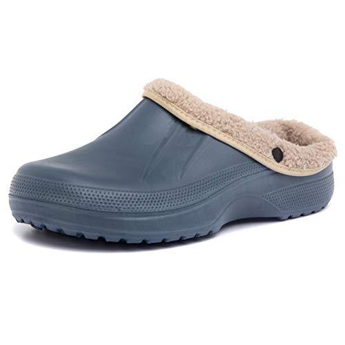 AARDIMI Clogs Herren Damen Gefüttert Hausschuhe Winter Warm Pantoffeln Hausschuhe Wasserdicht rutschfeste Plüsch Schlappen (45 EU, Blau)