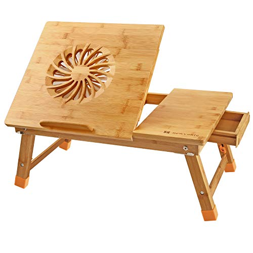 Nnewvante Laptop Desk Adjustable Laptop Desk Table 100% Bamboo with USB Fan Foldable Breakfast Serving Bed Tray w' Drawer Leg Cover