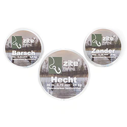 Zite Fishing - Juego de sedales de fluoro-carbono para pesca de lucioperca (0,26-0,7 mm, 90 m en total, para pesca de perca, lucioperca y lucio)