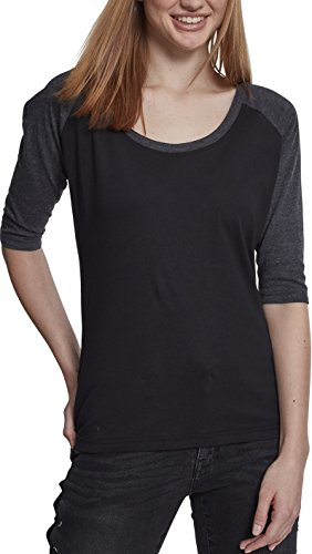 Urban Classics Damen Ladies 3/4 Contrast Raglan Tee T-Shirt, Mehrfarbig(black/charcoal), XL