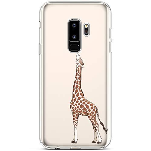 Felfy Etui Compatible avec Samsung Galaxy S9 Plus,Coque Galaxy S9 Plus Transparente Silicone Housse de Protection Ultra Mince en Caoutchouc Souple Coquille Anti Choc Téléphone Bumper Case,Girafe