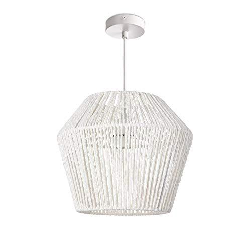 Hängelampe LED Pendellampe E27, Rattan Optik Boho Korb Wohnzimmer Esszimmer Flur, Lampenschirm:Weiß (Ø33 cm), Lampentyp:Pendelleuchte Weiß