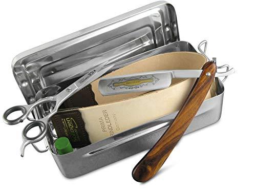 Herren Geschenk-Set Rasiermesser Lederriemen Bartschere Rasierpinsel Zupfpinzette & Paste aus Solingen mit Aufbewahrungsbox für eine gründliche Nassrasur