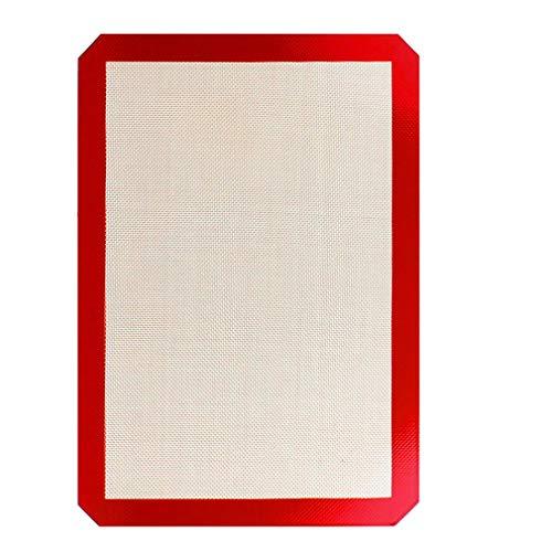 JIE Alfombrilla para Hornear de Silicona Alfombrilla para Hornear de Silicona + Fibra de Vidrio Resistencia a la Temperatura Marrón Rojo 300 * 400 mm
