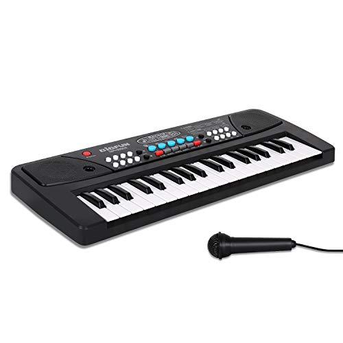 sanlinkee Teclado Piano Electronico 37 Teclas,Teclado de Piano con Micrófono Mini Teclado Portátil Enseñanza Teclado Digital Juguete Educativo para Niña Chico Principiantes(Negro)
