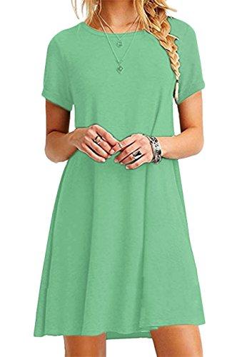OMZIN Damen Tunika Kleid Kurzarm Sommerkleid Casual Loose Shirtkleid Lokeres Shirt Lang,Hell Grün,XL