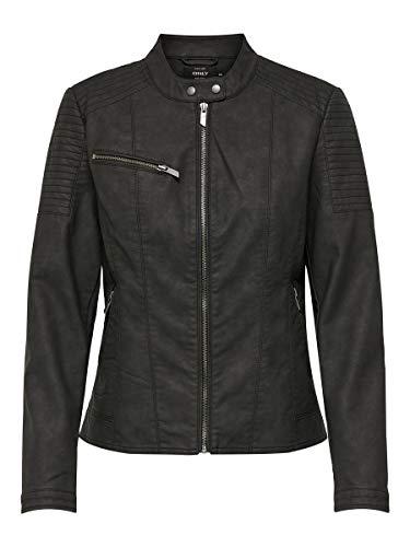 ONLY Damen ONLMEGAN Faux Leather Jacket CC OTW Jacke, Schwarz (Black Black), (Herstellergröße: 34)