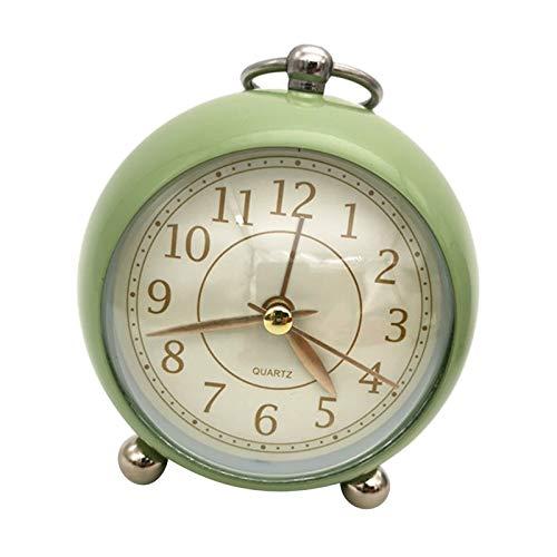 Xx101 Despertador Reloj Despertador decoración domiciliaria Escritorio de Noche Reloj Vintage silencioso Silencio Cuarzo analógico batería operada no ticture para niños Dormitorio (Color : Green)