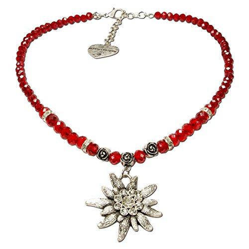Alpenflüstern Perlen-Trachtenkette Fiona Crystal mit Strass-Edelweiß groß - Damen-Trachtenschmuck Dirndlkette rot DHK142