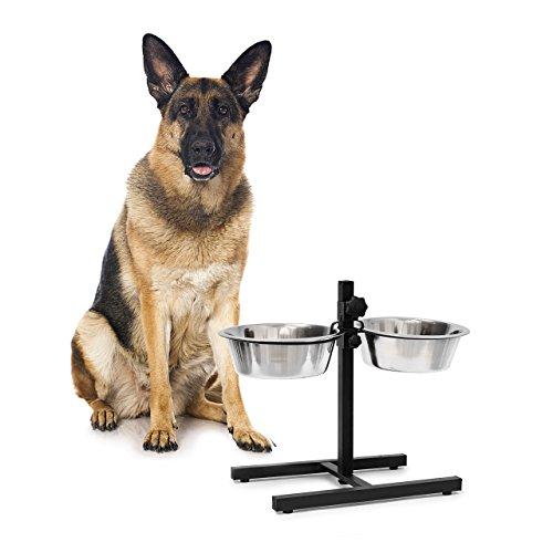 Relaxdays 10019116_399 Ciotole Rialzate per Cani in Acciaio Inox HxLxP: 42 x 53 x 26 cm con Supporto, Altezza Regolabile, Antiscivolo, Argento