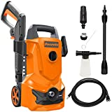 Electric Pressure Washer, Power Washer Car Wash Machine - MAX 3200 PSI 2.2 GPM with Adjustable Spray Nozzle Foam Cannon, High Pressure Hose, Detergent Tank, for Cleaning Home/Deck/Driveway/Patio/Fence