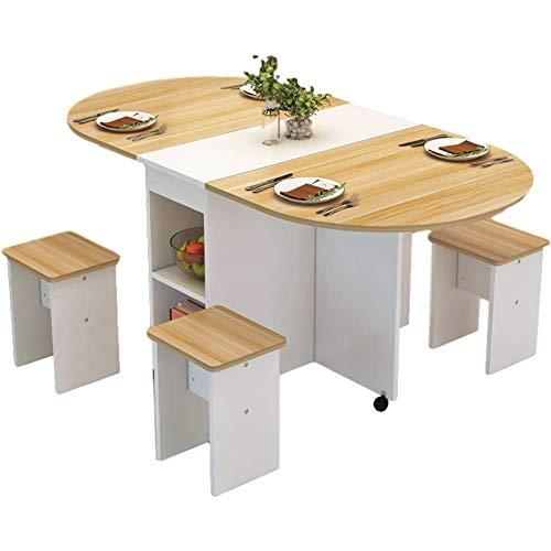 HMCL Mesa de comedor plegable móvil, 2-6 personas retráctil rectangular multi-función mesa, hay 4 taburetes y 2 estantes de almacenamiento, para espacios pequeños, color de madera* blanco
