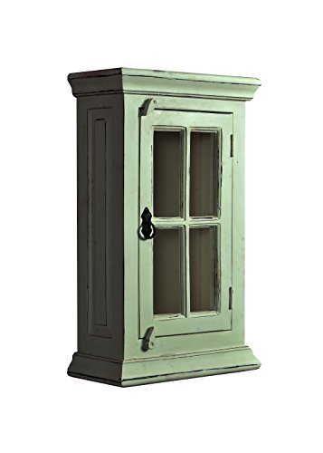 SIT-Möbel Toledo 6902-10, Hängeschrank mit Glastür, aus Mangholz & MDF, weiß, 44 x 20 x 70 cm