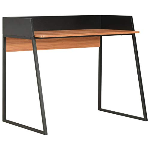 vidaXL Escritorio Mesa Trabajo Oficina Estudio Despacho Decoración Diseño Estilo Mobiliario Muebles Casa Hogar 90x60x88 cm Color Negro y Marrón