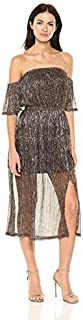 MINKPINK Women's Midas Lurex Shiny Off The Shoulder Midi Dress