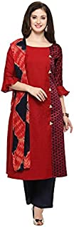 Inddus Red Woven Stylised Salwar Suit With Dupatta (fully Stitched)