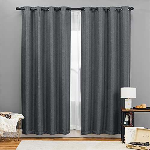 Bedsure Linen Textured Curtains, Grommet Curtains for Living Room 84 inch Length 2 Panels, Grey Curtains for Bedroom(52 X 84inch,Grey)