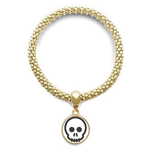 DIYthinker Womens Frank zwart Skeleton Chat Emoji gouden armband ronde hanger sieraden ketting