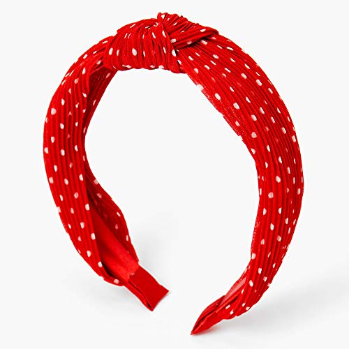 Claire's Polka Dot Pleated Knotted Headband for Girls, One Size, Red and White, 1 Piece