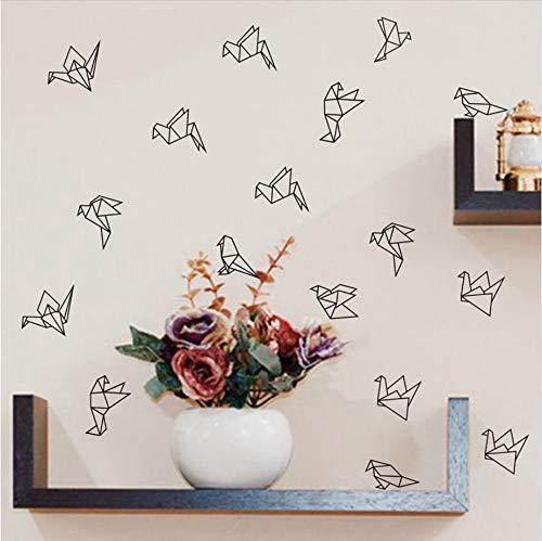 Olivialulu Geométrica Origami Birds Tatuajes de pared Decoración de arte de vivero, Pájaros de vinilo geométricos de vinilo Pegatinas de pared Sala de estar Decoración de pared moderna