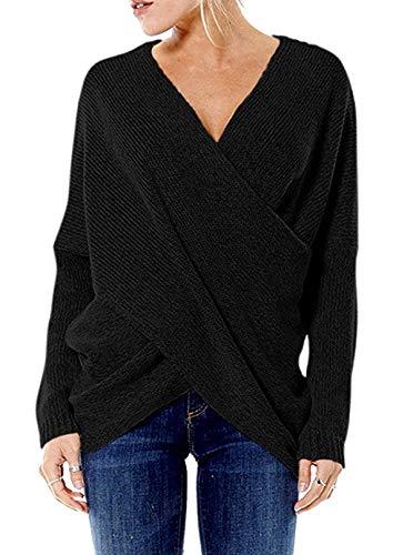 YOINS Damen Pullover Oberteile Strickpullover für Damen Herbst Winter Langarm V-Ausschnitt Batwing Cross Front (XL, Aktualisierung-Schwarz)