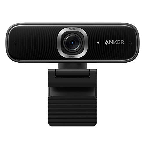 Anker PowerConf C300 Webcam mit Mikrofon, Full HD Webcam AI Autofokus, 1080p mit Geräuschunterdrückung, Regulierbarer Sichtwinkel, HDR, Lichtkorrektur, Zoom-Zertifiziert, Streaming