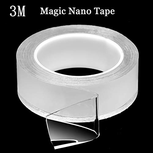 iSuperb Nano Tape Roll,Traceless Double-Sided Grip Tape,Reusable Nano Adhesive Tape,No-Trace Removable Glue Tape,Washable Strong Gel Anti-Slip Fixed Adhesive Transparent (9.84ft/3M)