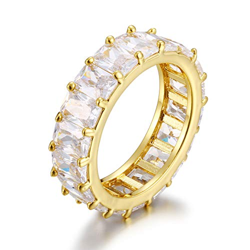 YIMERAIRE 18K Gold Plated 6MM Hip Hop Ring Iced Out 4 Prong Set Full Lab Simulation Big Bread Diamond Rings for Men Women Jewelry Gift