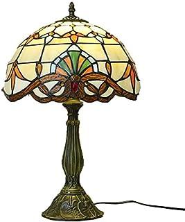 Lampe de Table Rétro vitrail créatif + Base en résine LEDE27 Chambre Salon Salle à Manger étude Lampe de Table/Lampe de Ta...