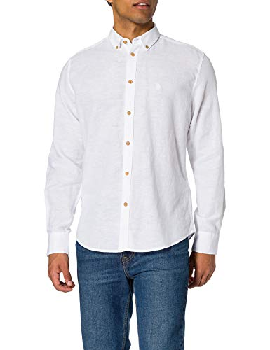 Springfield Camisa Lino, Blanco, L para Hombre