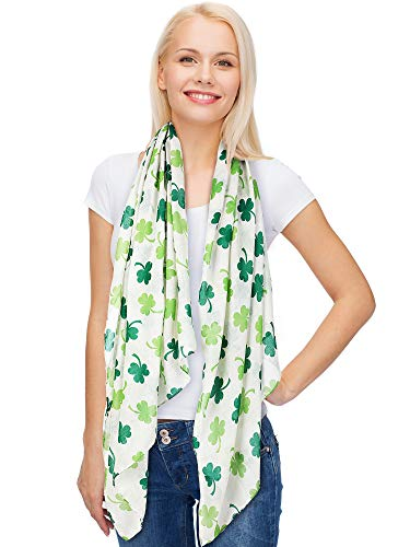 Skylety St. Patrick's Day Printed Scarf Long Shamrock Shawl Irish Theme Scarf for Holiday Outfits Accessories (White Background, 1 Piece)