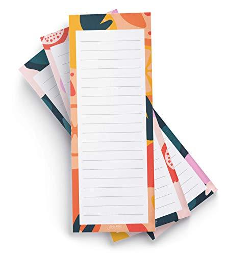 Jot & Mark Einkaufslistenblöcke mit Obstdruck, elegante magnetische Notizblöcke für Einkäufe und To-Do-Listen (3er-Set)