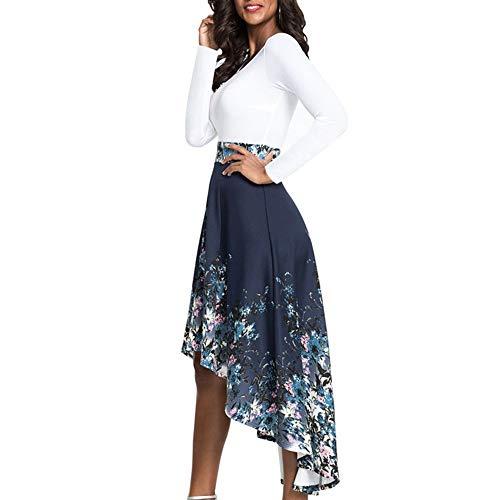 Bdb Vrouwen casual lange mouwen jurk ronde hals print schommel bloemen geplooide jurken vallen