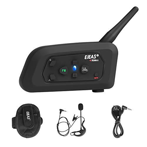 EJEAS V4 Pro-C Cuffie Interfono Bluetooth Per Arbitro di Calcio Professionale, 1200M 4 Persone Full Duplex Che Parlano Allo Stesso Tempo Interfono da Moto con FM e Cuffie Auricolari Singole