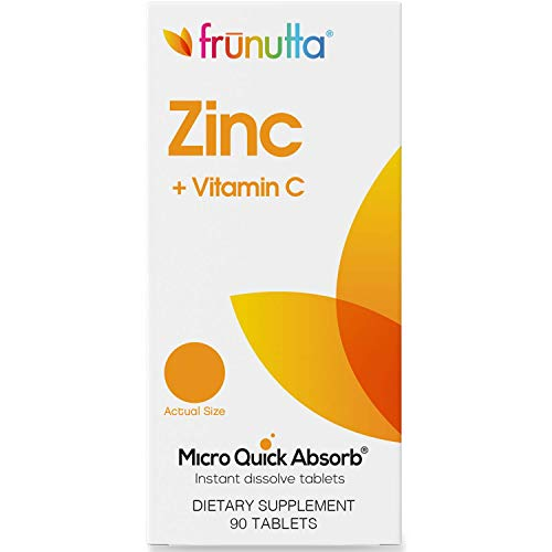 Frunutta Zinc 5 mg + Vitamin C 15 mg, Supports Immune System, Under The Tongue Instant Dissolve Tablets for Children and Adults, 90 Tablets, Proudly Made in The USA