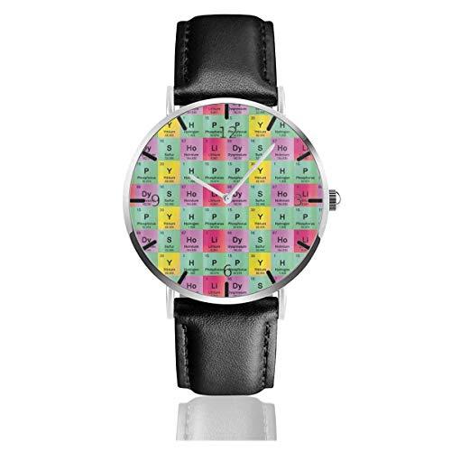 Relojes de Pulsera Chemistry Periodic Table of Elements Reloj de Cuarzo con Correa de Cuero de PU para Hombre Mujer colección Regalo Unisex Informal de Negocios