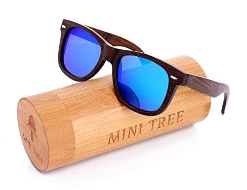 Mini Tree Gafas de Sol Polarizadas Hombre y Mujer, Gafas de Carbón de Bambú Flotantes Cat.3 UV Protección de Modelo Clasico (Negro, Azul)