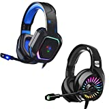 ZIUMIER Gaming Headset for PS4, PS5, PC, Xbox One, with Noise Cancelling Microphone, 7.1 Stereo Surround Sound, RGB Light, Soft Memory Over-Ear Headphones